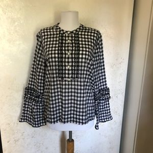 J. Crew Gingham Embroidered Bell Sleeve Blouse